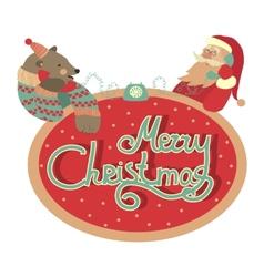 Bear and Santa Claus talking by phone vector image