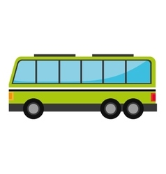 Green bus with windows isolated on white vector