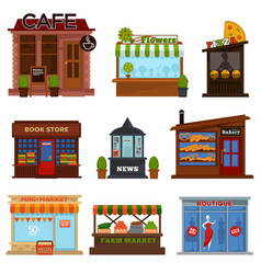 shops and cafes street showcases with products set vector image vector image