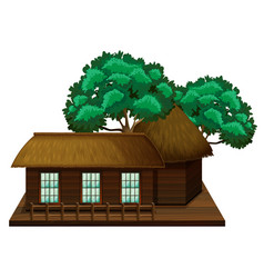 wooden hut with trees vector image vector image