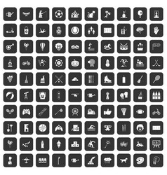 100 kids activity icons set black vector