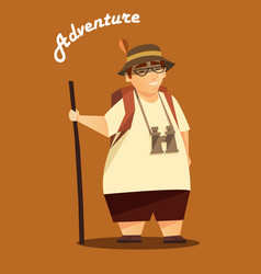 A traveler hiking poster vector