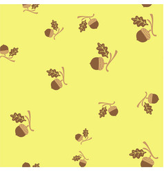 acorn and leaf oak branch seamless pattern color vector image