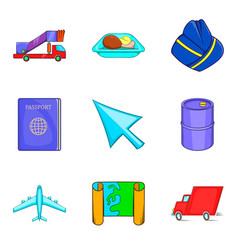 Aerial view icons set cartoon style vector