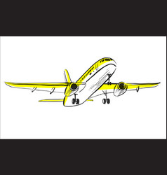Airplane sketch in sky aircraft in minimalistic vector