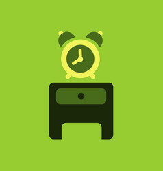 Alarm clock red wake-up time isolated in flat vector