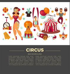 amazing circus promo poster with participants of vector image