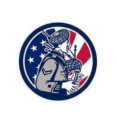 American bagpiper usa flag icon vector
