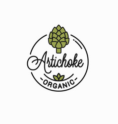 Artichoke flower logo round linear artichoke vector
