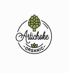 artichoke flower logo round linear vector image