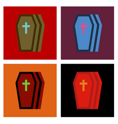 Assembly flat icons halloween coffin vector