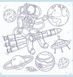 Astronaut flying on a rocket and waving his vector