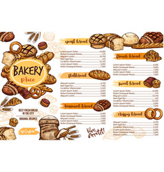 bakery menu template of bread for cafe and pastry vector image
