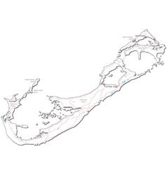 Bermuda Black White Map vector