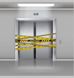 broken elevator door closed entrance not working vector image
