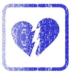 Broken heart framed textured icon vector