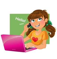 Brown-haired girl with phone and pink laptop vector