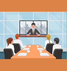 Business people at video conference call vector