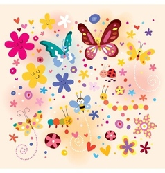 Butterflies beetles flowers vector