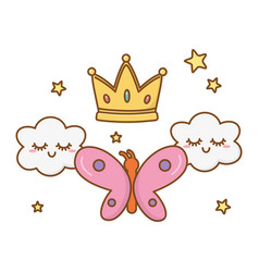 Buttlerfly with crown and clouds vector