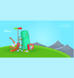 Camping horizontal banner hill cartoon style vector