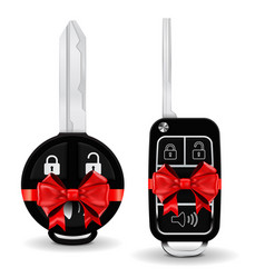 car key in a decorative wrapping red ribbon bow vector image