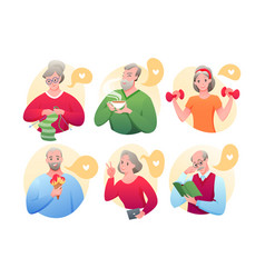 cartoon round avatars active old character vector image