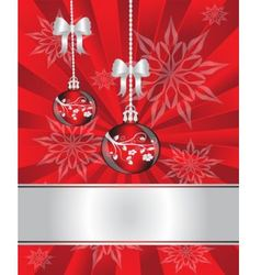christmas decorations on red background vector image