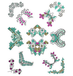colorful sketch ornamental floral corners set vector image