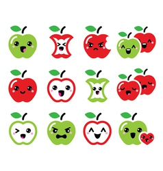 Cute red apple and green apple kawaii icons set vector image