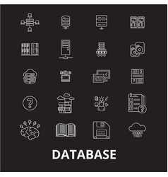 database editable line icons set on black vector image