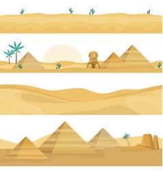 desert landscape seamless borders sand dunes vector image