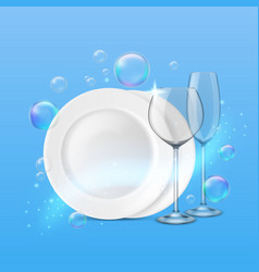 Dish wash realistic shiny dishes cleanness fresh vector