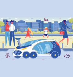 Electric or hybrid eco car and street pedestrians vector