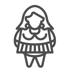 Fat girl line icon body positive vector