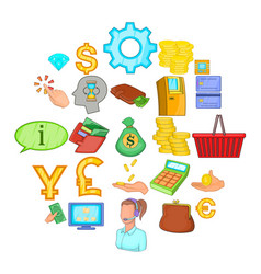 financial resources icons set cartoon style vector image