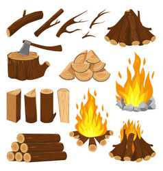 firewood boards fireplace fire wood burning vector image