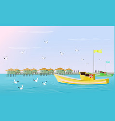 Fishing boats are sailing in sea vector