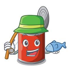Fishing canned food on the table cartoon vector