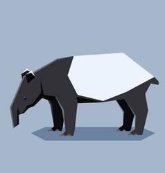 flat geometric malayan tapir vector image