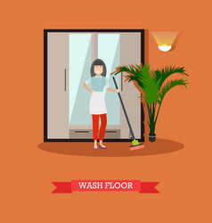 flat of cleaning woman washing vector image