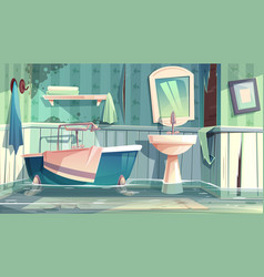 Flooding bathroom in old house cartoon vector