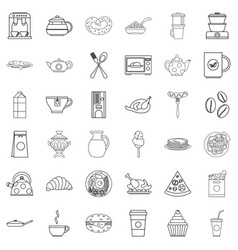 Foodstuffs icons set outline style vector
