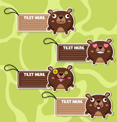 Four cute cartoon Bears stickers vector image
