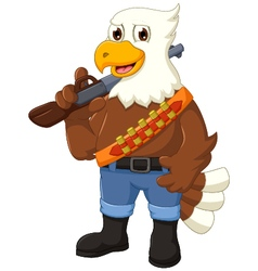 Funny eagle cartoon holding rifle vector