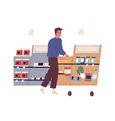 funny young man with shopping cart buying food at vector image
