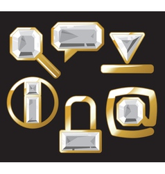 Gem icons with diamond vector image