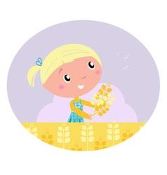 girl harvested grain vector image vector image