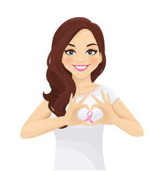 Girl with cancer ribbon vector
