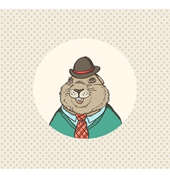 Groundhog hipster vector